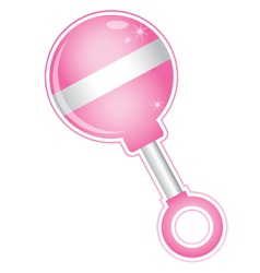 Shiny girl baby pink rattle toy vector