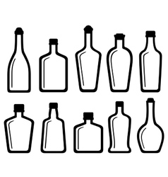 Set white glass alcohol bottles vector