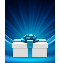 White gift box with blue ribbon vector