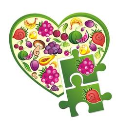 Background- fruit heart vector