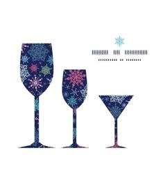 Snowflakes on night sky three wine glasses vector