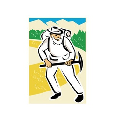 Miner with pick ax and backpack mountains retro vector