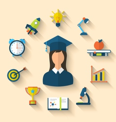 Flat icons of graduation and objects for high vector