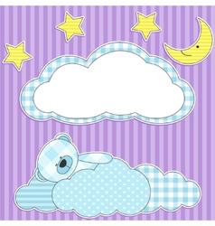 Sleeping pink teddy bear vector