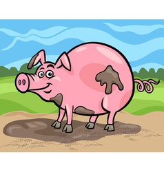 Pig farm animal cartoon vector