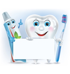 Funny tooth tooth paste and tooth brush with blank vector