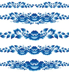 Blue floral design elements and page decoration to vector