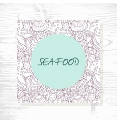 Seafood menu with hand drawn underwater pattern vector