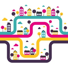 Background with abstract town vector