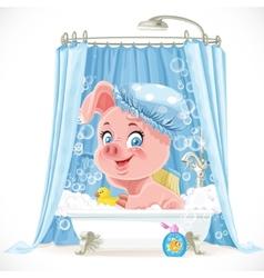 Cute pink little piggy taking a bath with foam vector