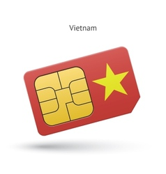 Vietnam mobile phone sim card with flag vector