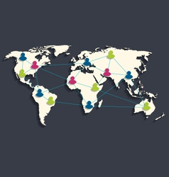 Social connection on world map with people icons vector