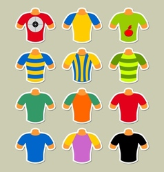 Set of multicolored t-shirts vector