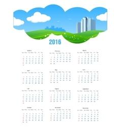 Summer theme 2016 calendar vector