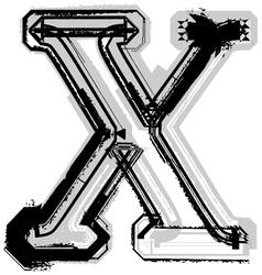 Grunge font letter x vector