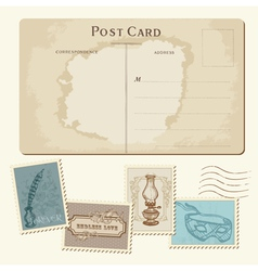 Vintage postcard and stamps vector