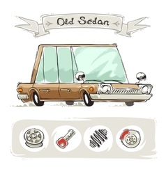 Old cartoon sedan set vector