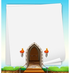 Castle entrance on paper vector