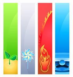 4 nature element banner backgrounds vector