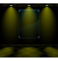 Black room with glass placeholder vector