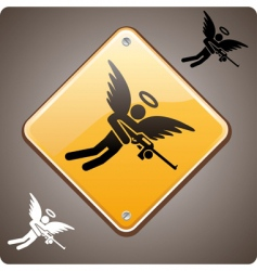 Warning armed angel ahead vector