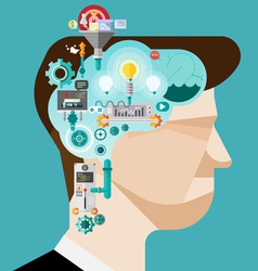 Brainstorming businessman create idea vector