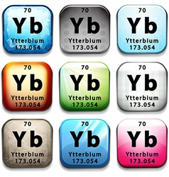 A button with the chemical ytterbium vector