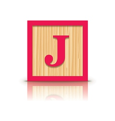 Letter j wooden alphabet block vector