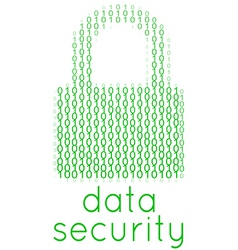 Digital data security lock text vector