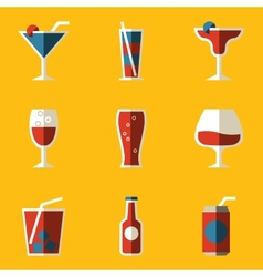 Flat icon set drink cocktail vector