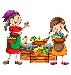 Market vendors selling the fresh harvests vector