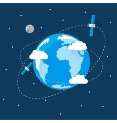 Blue earth in space modern flat design vector