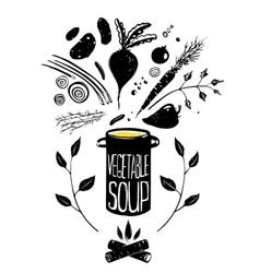 Cooking vegetable soup food in black vector