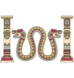 Aztec god as a snake between columns vector