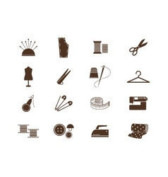 Sewing equipment icons vector