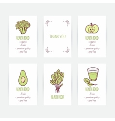 Set of business card templates with vegetarian vector