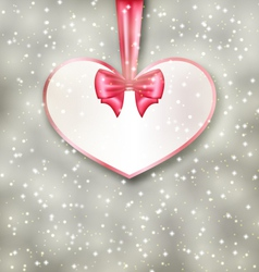 Greeting paper card made of heart shape valentine vector