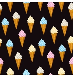 Seamless background ice cream waffle cone vector