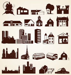 Houses buildings silhouettes set vector