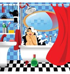 Girl in the bath vector