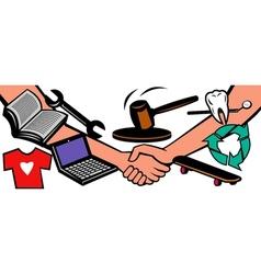 Auction items handshake deal swap exchange vector