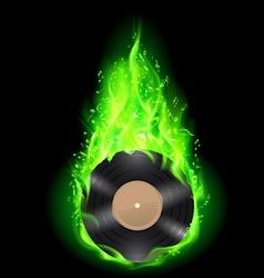 Vinyl disc in green fire vector