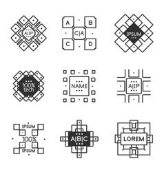 Vintage label minimal line art design vector