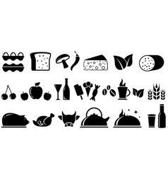 Set food isolated objects vector
