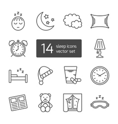 Sleep thin lined icon vector