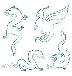 Hand drawn dragon silhouettes set vector