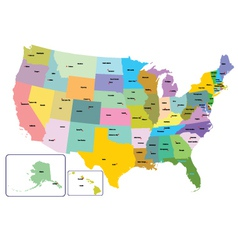 Colorful usa map with states and capital citie vector