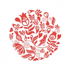 Floral round vector