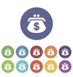 Dollar purse flat icon vector