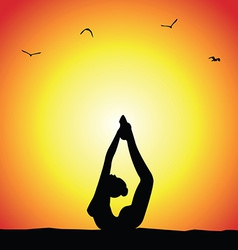 Yoga pose silhouette vector